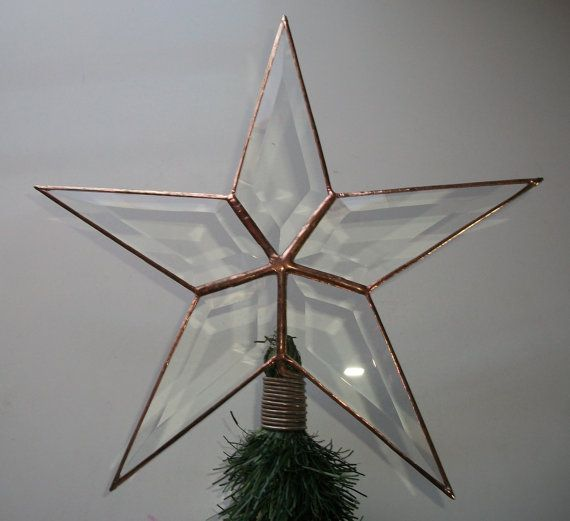 Large Rustic Look Beveled Glass Texas Star Christmas Tree Topper (10.5 inch made to order ...