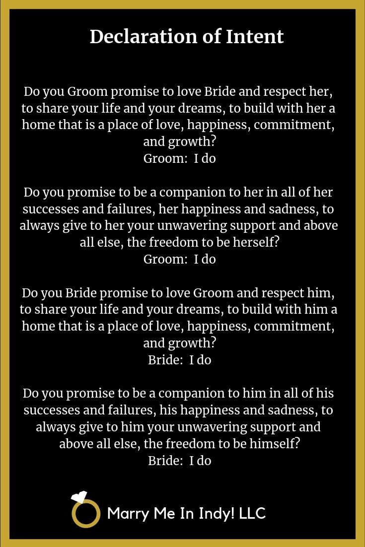, Declaration of Intent and Wedding Vows for your wedding