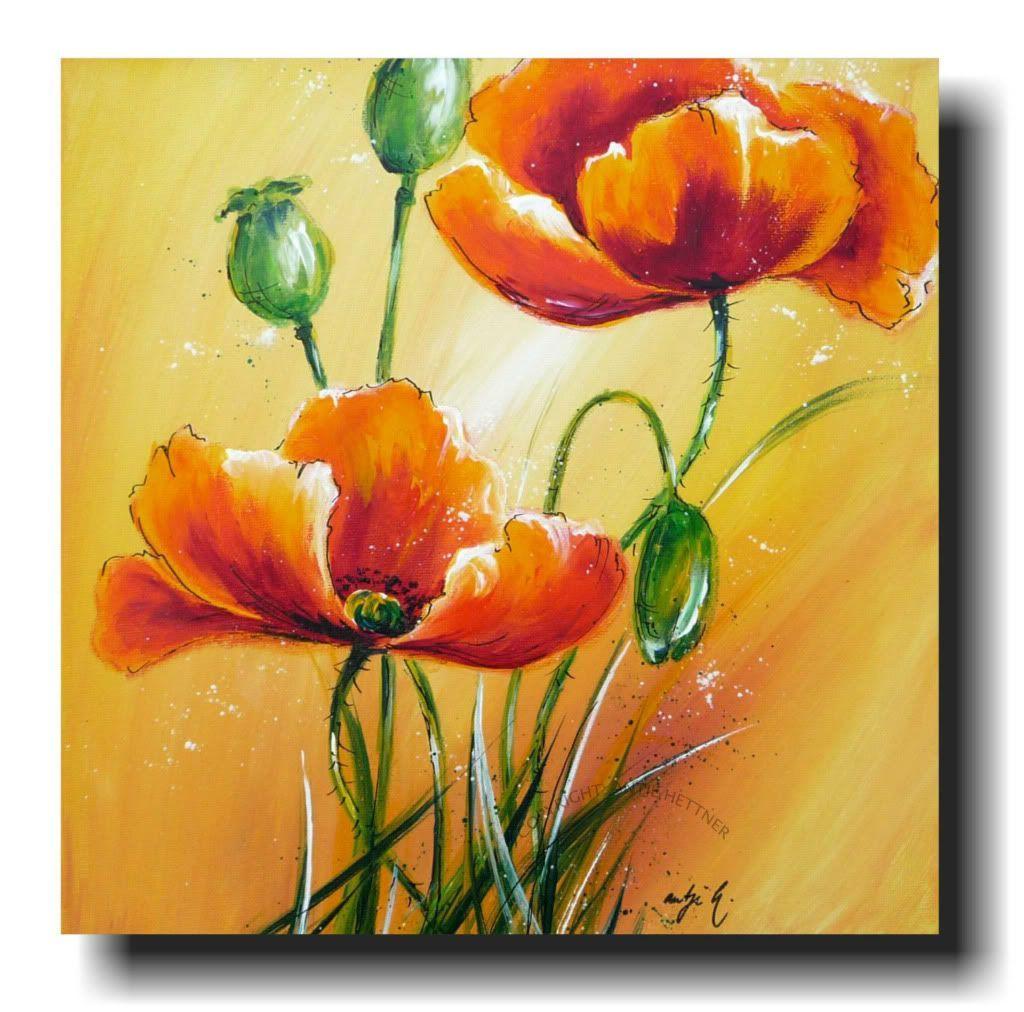 Kunst Bild Leinwand Mohn Bluten Blumen Acryl Original Mohnzeit Painting Abstract Painting Acrylic Painting