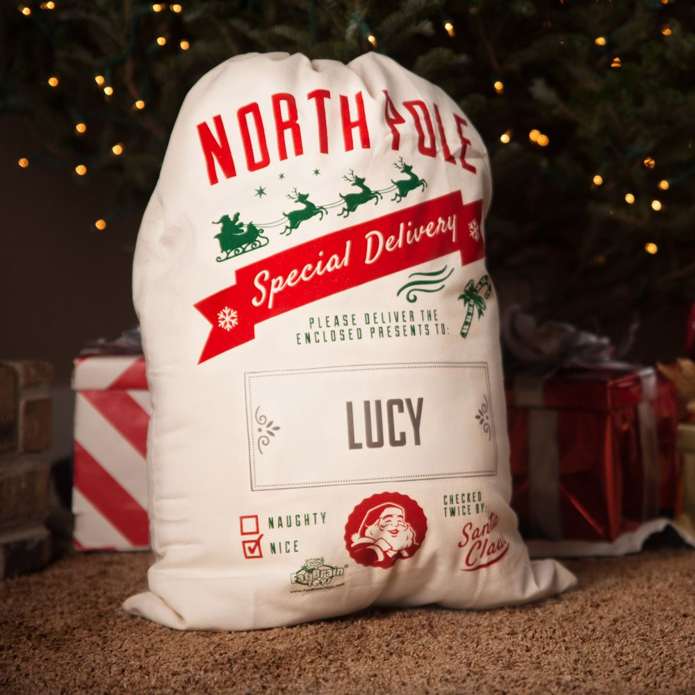 Silhouette Santa Bag Personalized Christmas Gift Personalized Santa Bag Christmas Gift for Kids Gift for Grandchildren Santa Bag