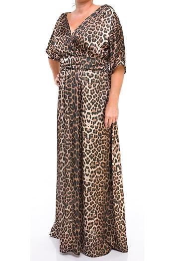 Melisita Erlina Buyuk Beden Leopar Desenli Ince Saten Elbise Elbise Giyim Elbise Modelleri