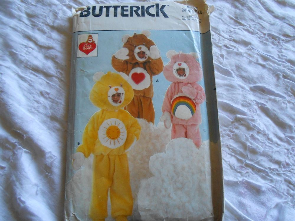 Vtg Butterick Sewing Pattern Costume Care Bears 6814 Children's Size S M L Uncut #Butterick