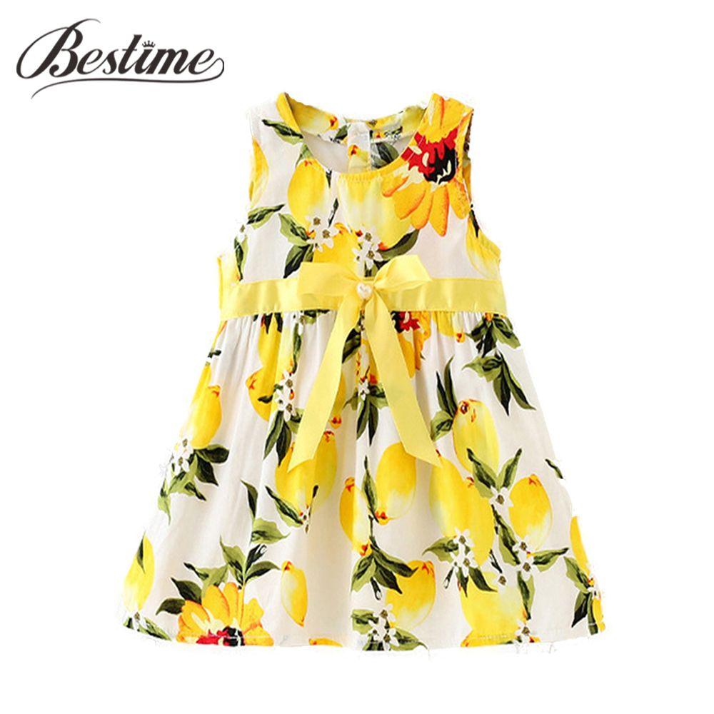 Cool 4-4 Months Summer Baby Dress Yellow Lemon Infant Girls