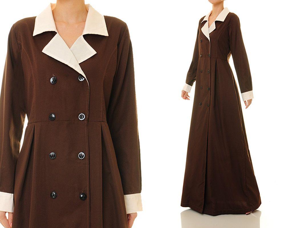 Cotton abaya maxi dress brown shirtdress brown abaya long sleeve