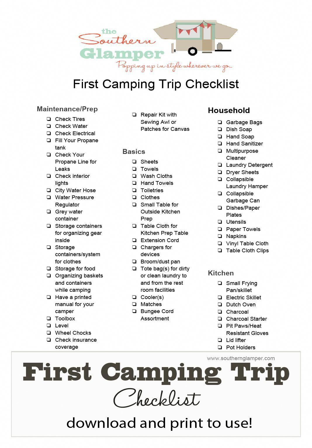 camping checklist to download and print for your first camping trip