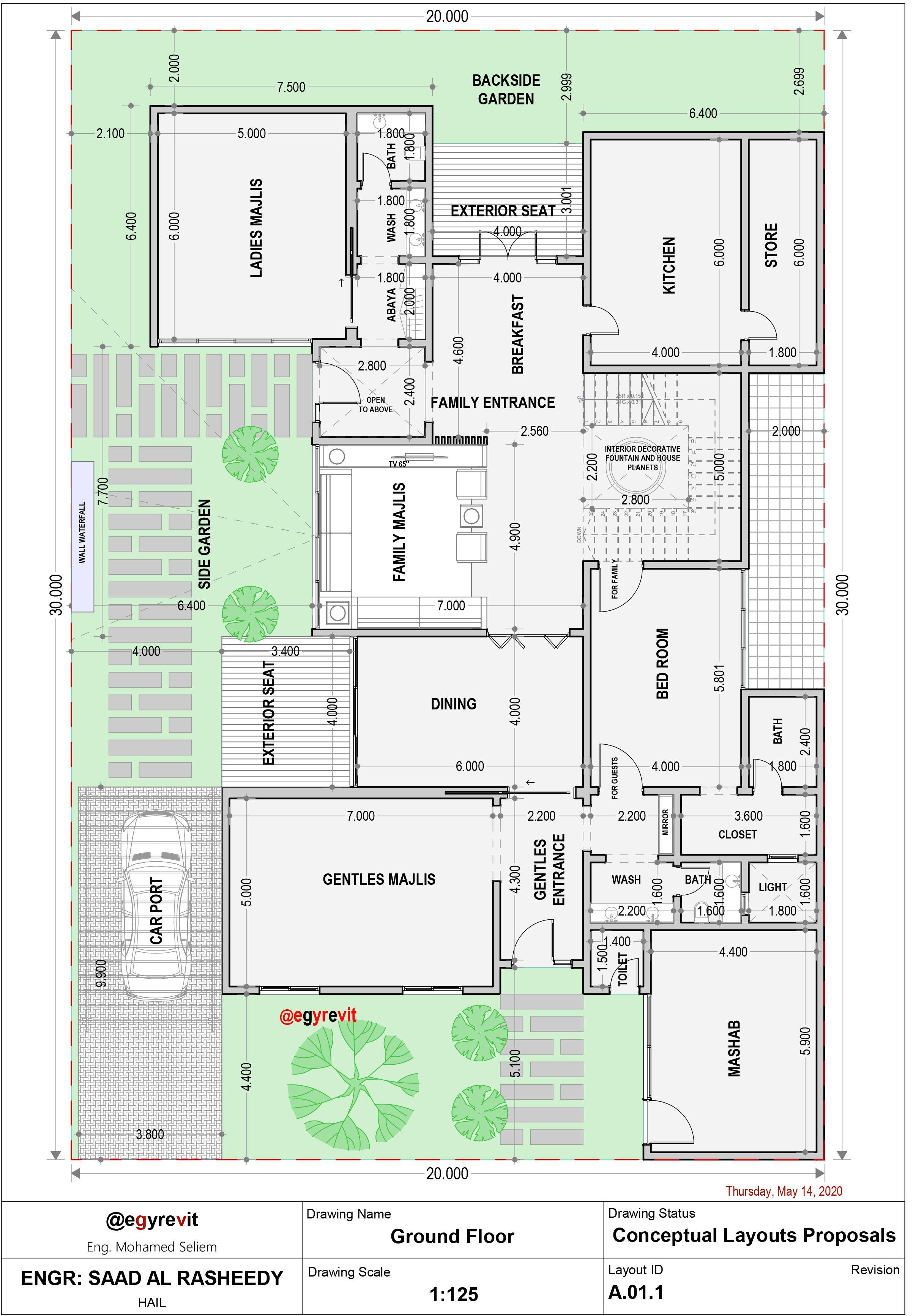 تصميم فيلا ٢٠ في ٣٠ مع حديقة جانبية الدور الارضي Square House Plans House Floor Design My House Plans