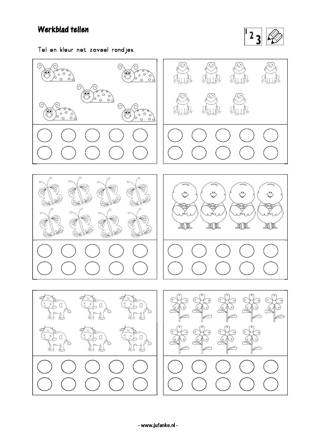 Tel En Kleur Counting Worksheets For Kindergarten Math Concepts Kids Learning Activities [ 1754 x 1240 Pixel ]