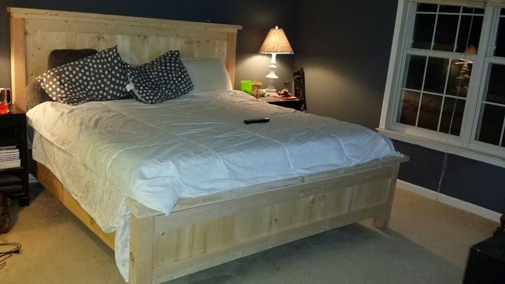 Ana white farmhouse king bed resized to fit standard