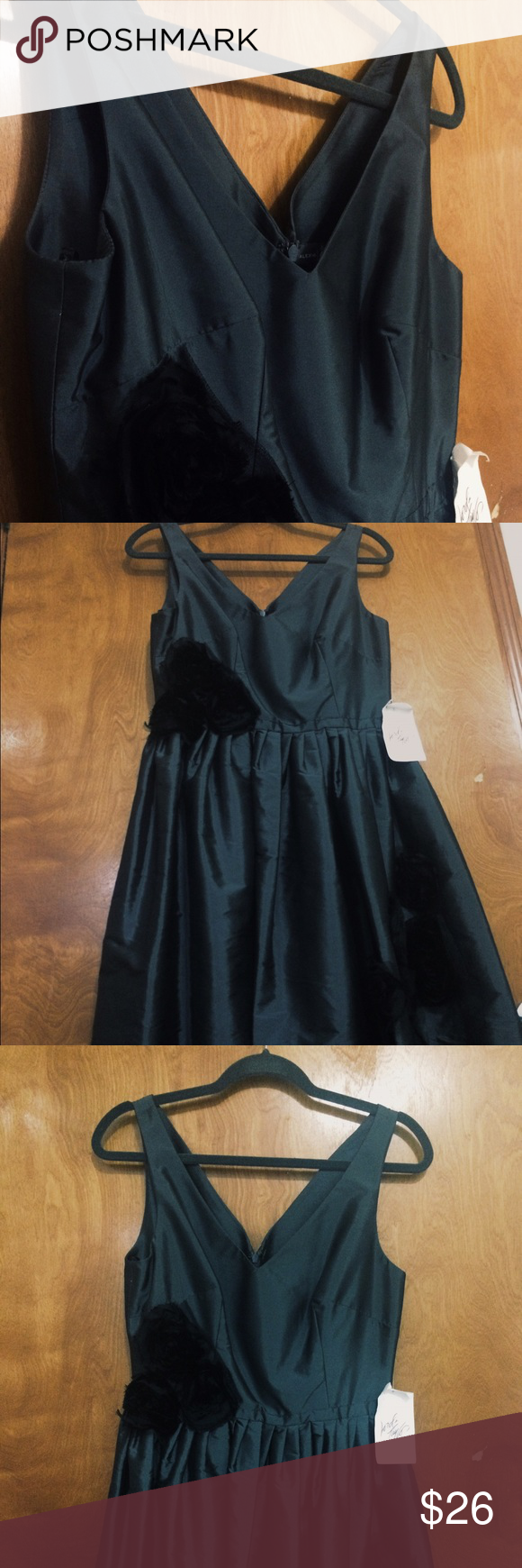 Dress Dark Gray, with black roses Lord & Taylor Dresses Asymmetrical