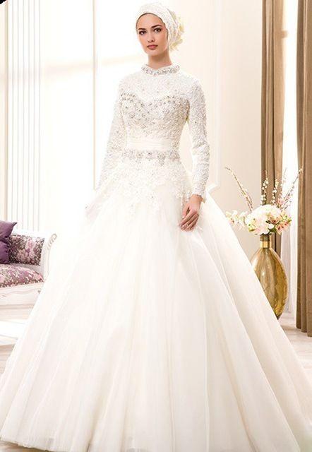 msl1007 blanco cuello alto manga larga rebordear hijab árabe vestido