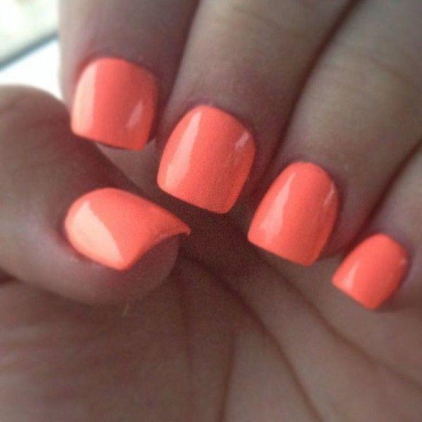 Bright orange/peach neon acrylic nails. ❤ liked on Polyvore ...