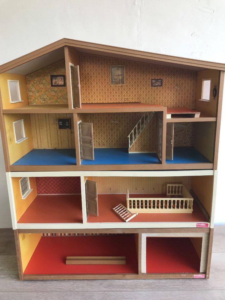 Vintage Lundby Sweden Mid Century 3 Three Story Wooden Dollhouse Ebay With Images Doll House Plans Wooden Dollhouse