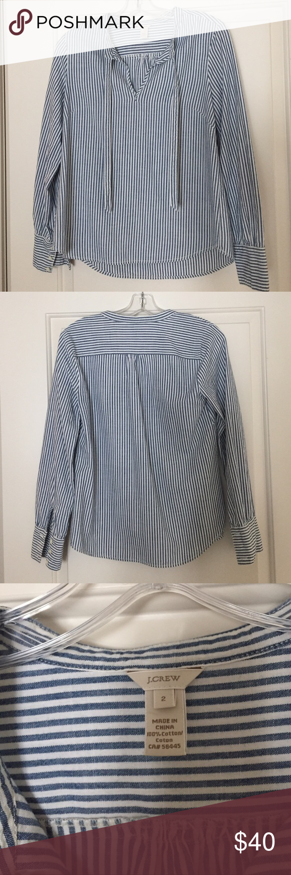 0b93dc4e276 J. Crew Striped Tie Neck Top 100% Cotton tie-neck top in blue and white  shirting stripe. No rips or stains - in great condition! J. Crew Tops  Blouses