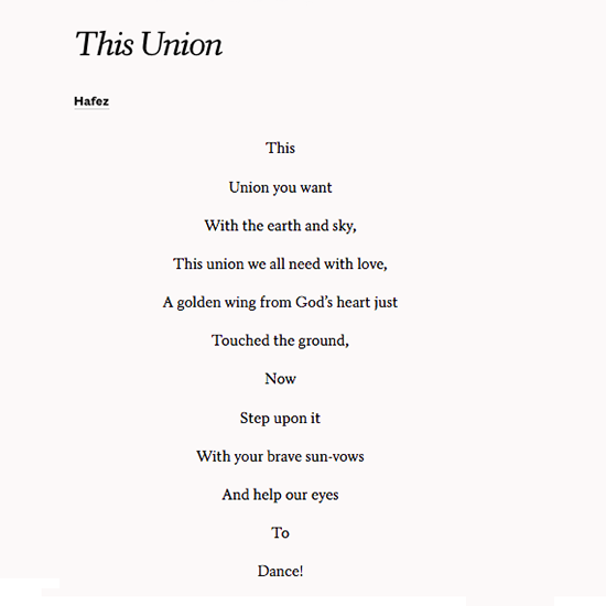 Share This Union By Hafez On Your Wedding Day And Dance Wedding Poems Hafiz Quotes Poems