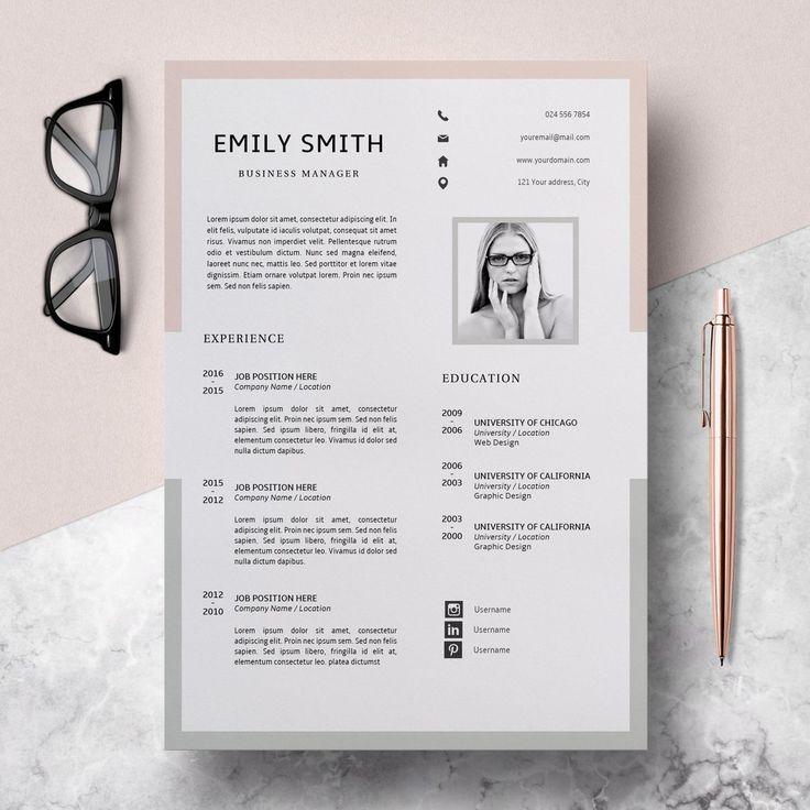Resume Design Template, Modern Resume Template Word