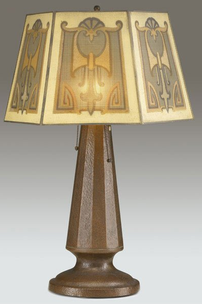 680 joseph heinrichs faceted copper table lamp on table lamp base joseph heinrich hammered copper arts and crafts table lamp base with tapering faceted center topped by three sockets recent mesh shade stamped jos mozeypictures Image collections