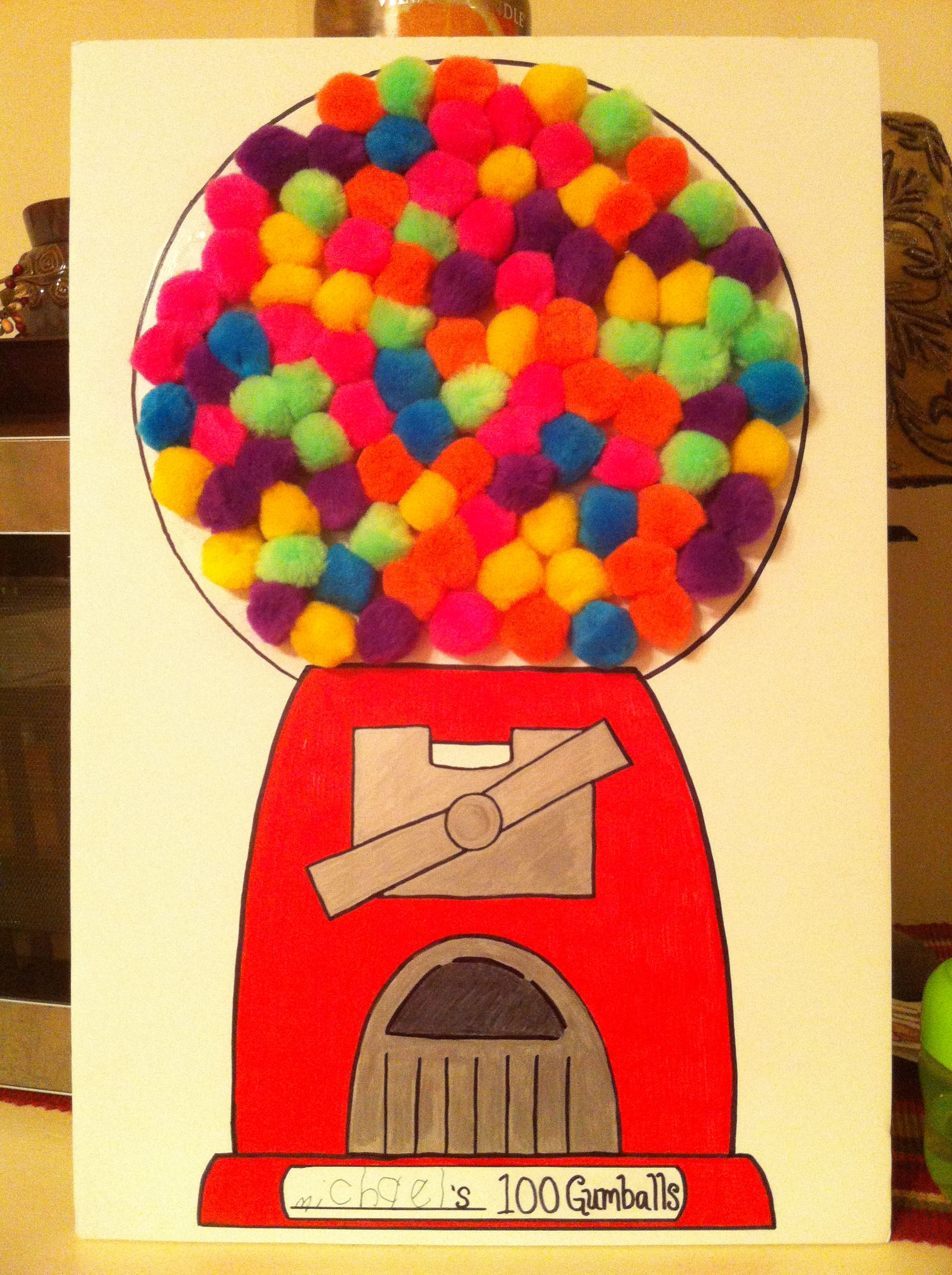 Mikey S 100th Day Of School Project 100 Gumballs Pom