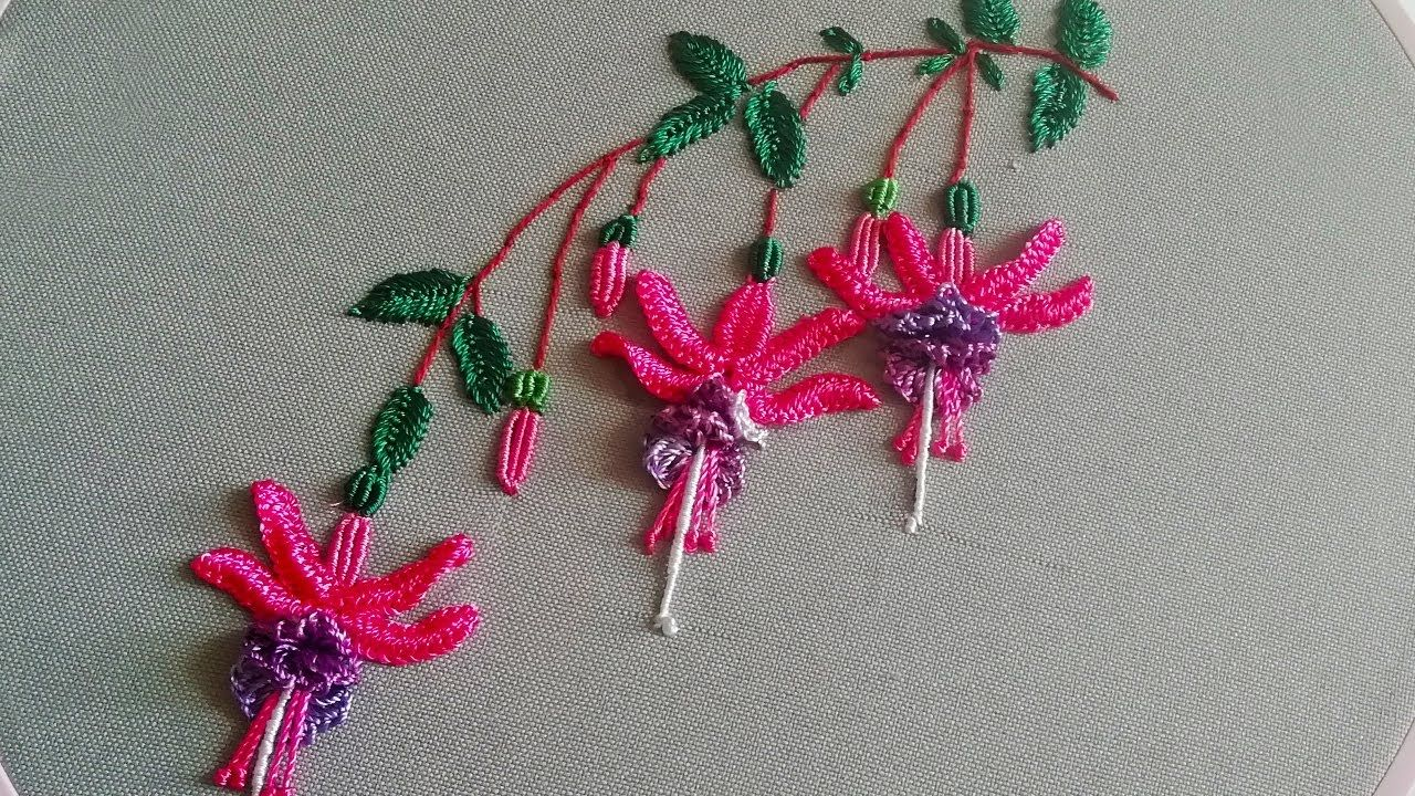 Amazing Embroidery How To Embroider Fuchsia Brazilian Flower Embroidery Ma In 2020 Hand Embroidery Patterns Flowers Embroidery Flowers Pattern Embroidery Flowers