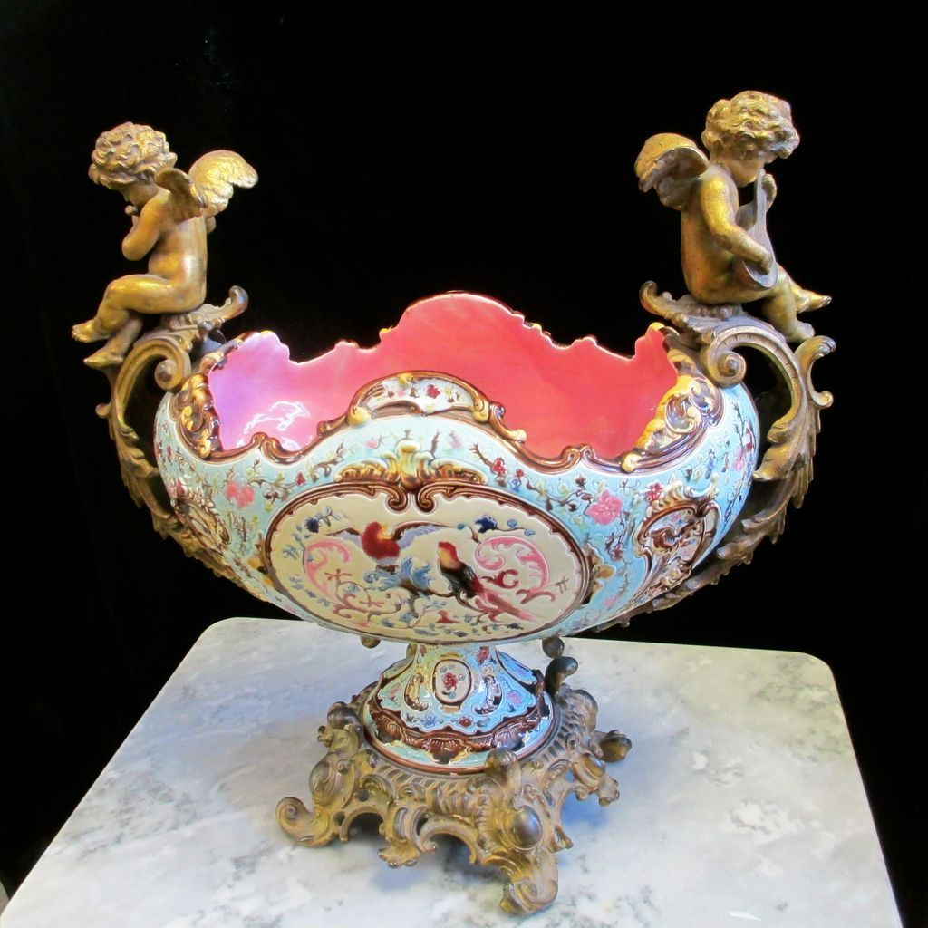 19C French Majolica Jardiniere Doré Cherubs Marked, Signed
