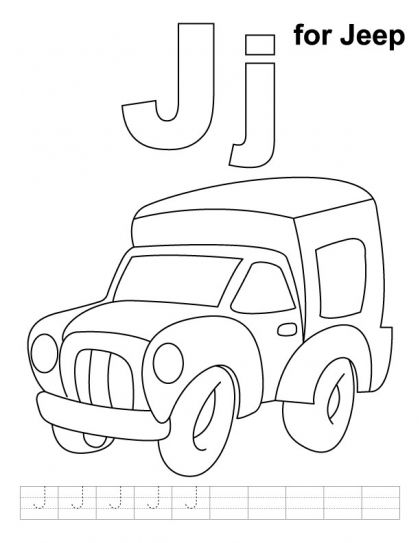 J for Jeep coloring page Letter