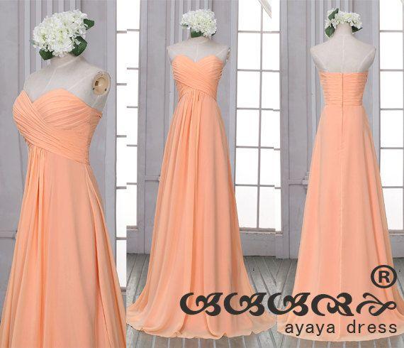beste Auswahl von 2019 heiß-verkaufender Fachmann beliebte Marke Lange Peach Brautjungfer Kleid Reißverschluss hinten von ...