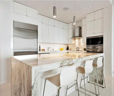 Bright white miami condo house home photo via for Modern kitchen design for condo