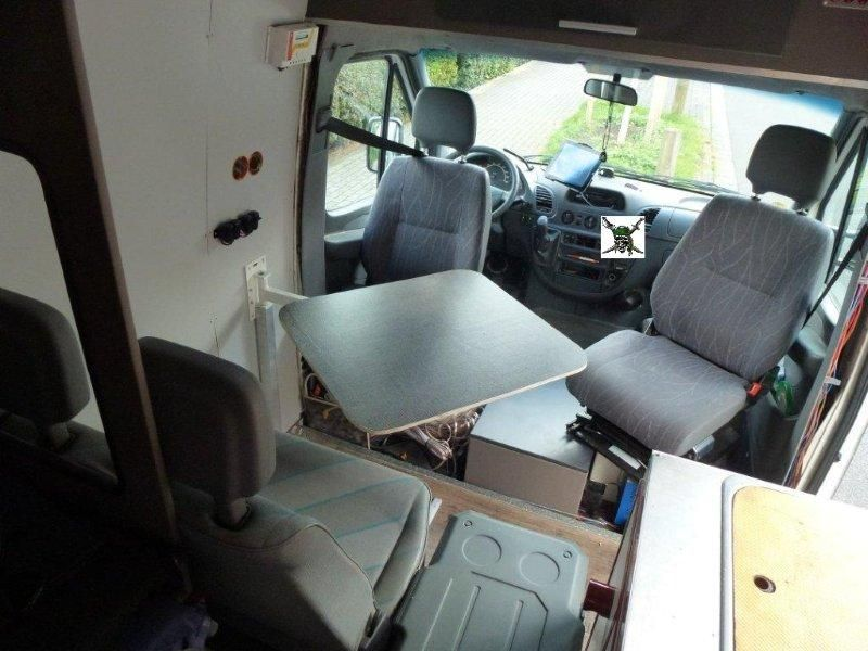 Fold Down Front Table In The Silver Pirate A 2001 Sprinter Camper Van ConversionCamper