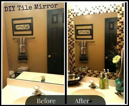 Bathroom Mirror Update With Tile Border