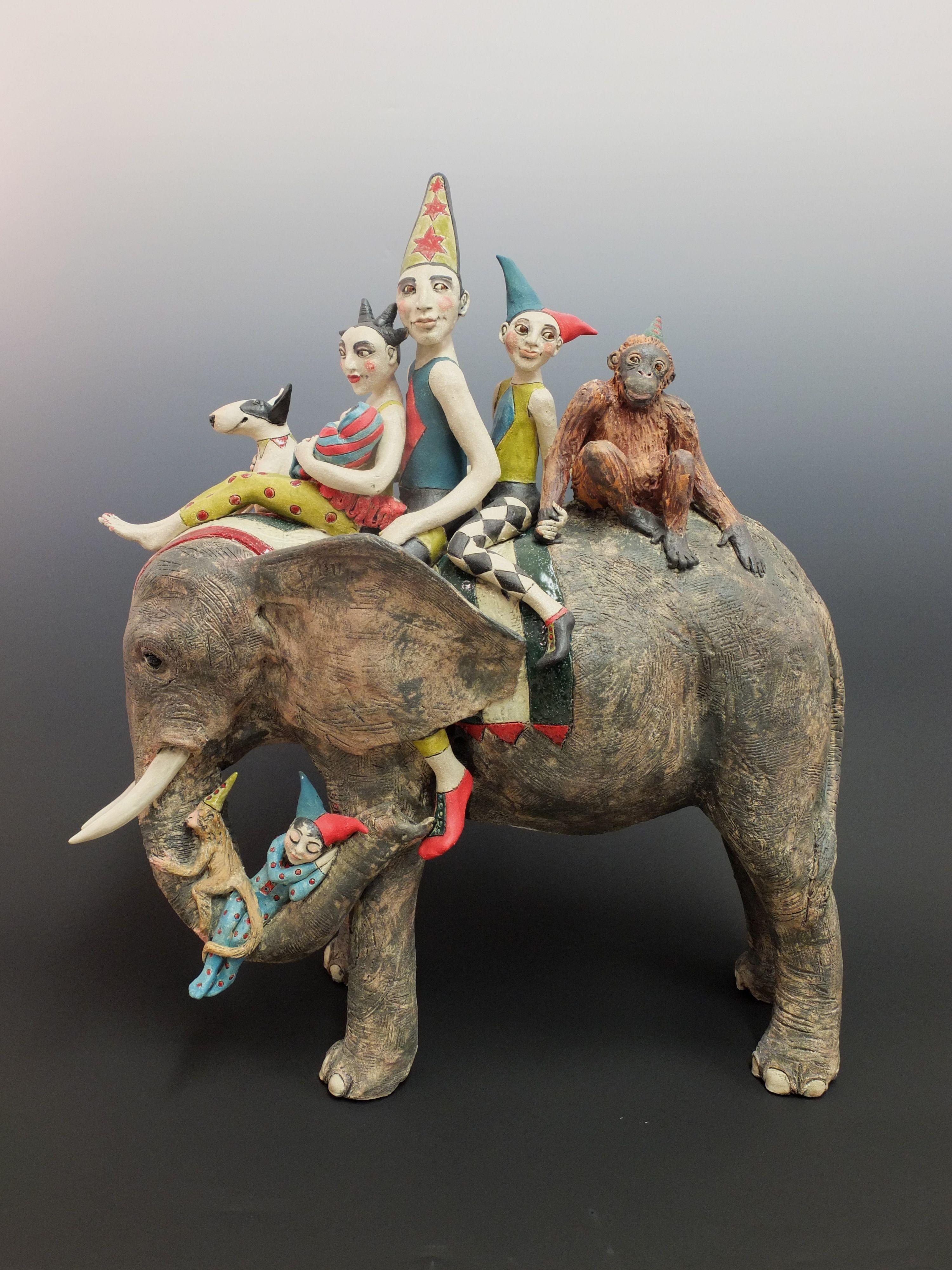 Circus Elephant Ceramic Marie Prett Clay Porcelain