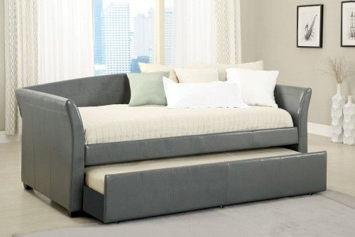 Mason Contemporary Daybed With Trundle In Gray Daybed With