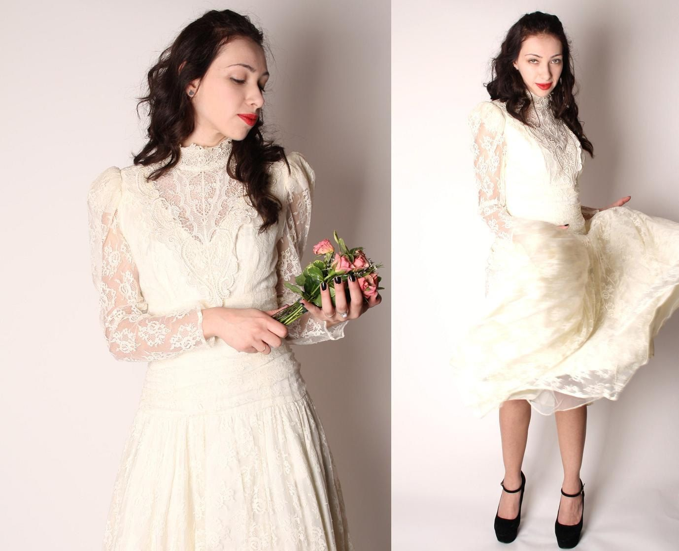 Anne of green gables wedding dress  s Vintage Romantic Vampire Peach Lace Victorian by aiseirigh