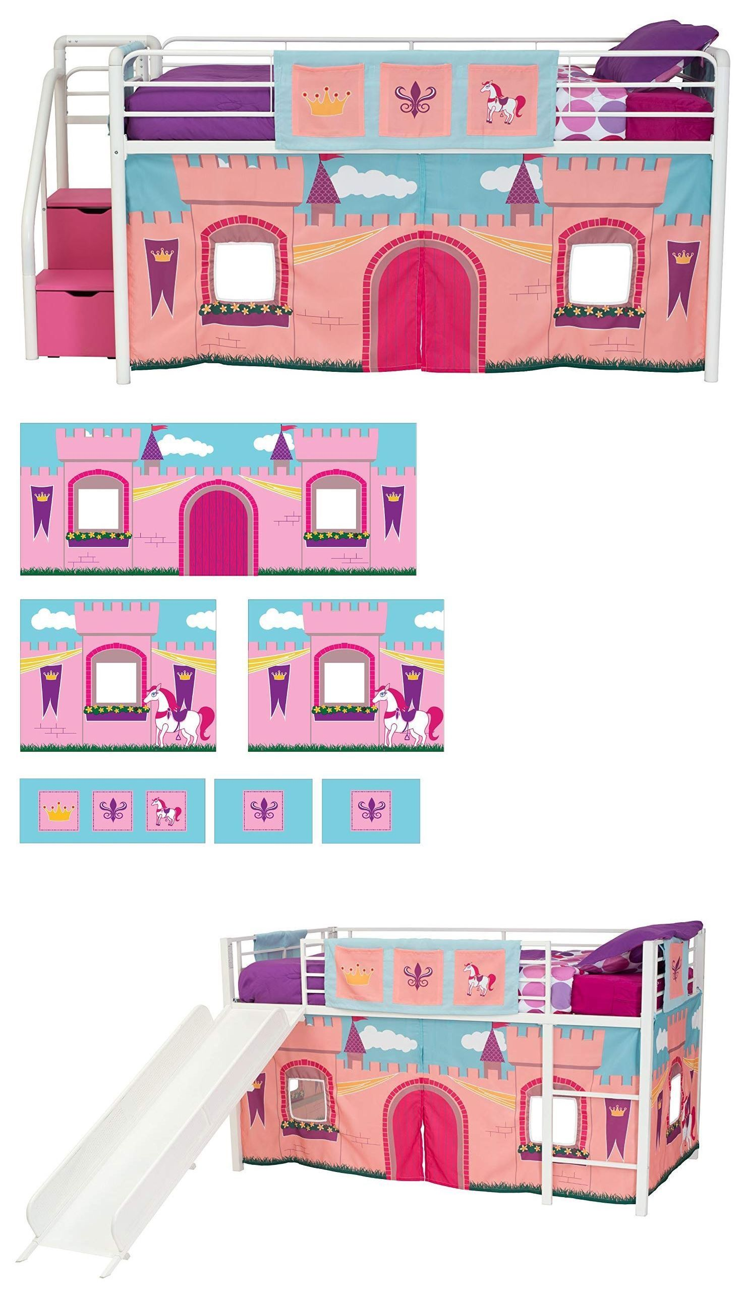 Bedroom Furniture 66742 Jr Loft Bed Curtain Set Junior Girls Kids Twin Princess Castle Fairytale Bed Junior Loft Beds Kids Twin Bedding Sets Fairytale Bedroom