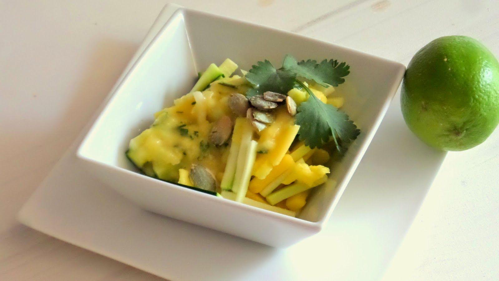 Cooking con Pausan: Ensalada de calabacin y mango/Gold and green Salad