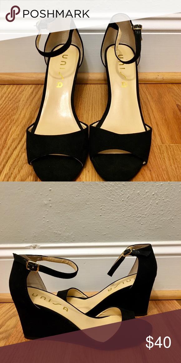 Unisa black wedge sandals   Black wedge