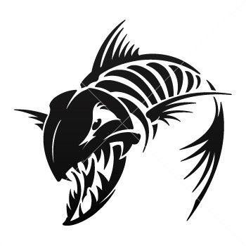 Simple Color Vinyl Aggressive Fish Skeleton Fishing