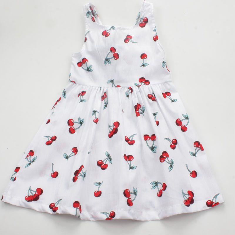 0ffcb01d8 Summer Casual Cherry Print Girls Dress Toddler Bowknot A Line ...