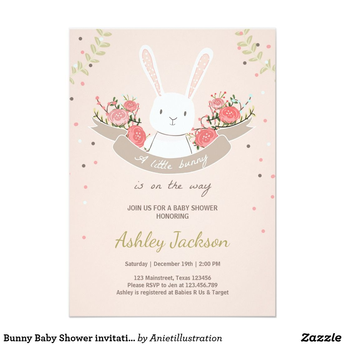 Bunny Baby Shower invitation Rabbit Spring Floral | Shower invitations