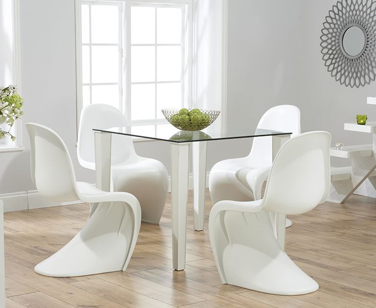 Madison 90cm Clear Glass Dining Table With Verner Panton Style S Chairs