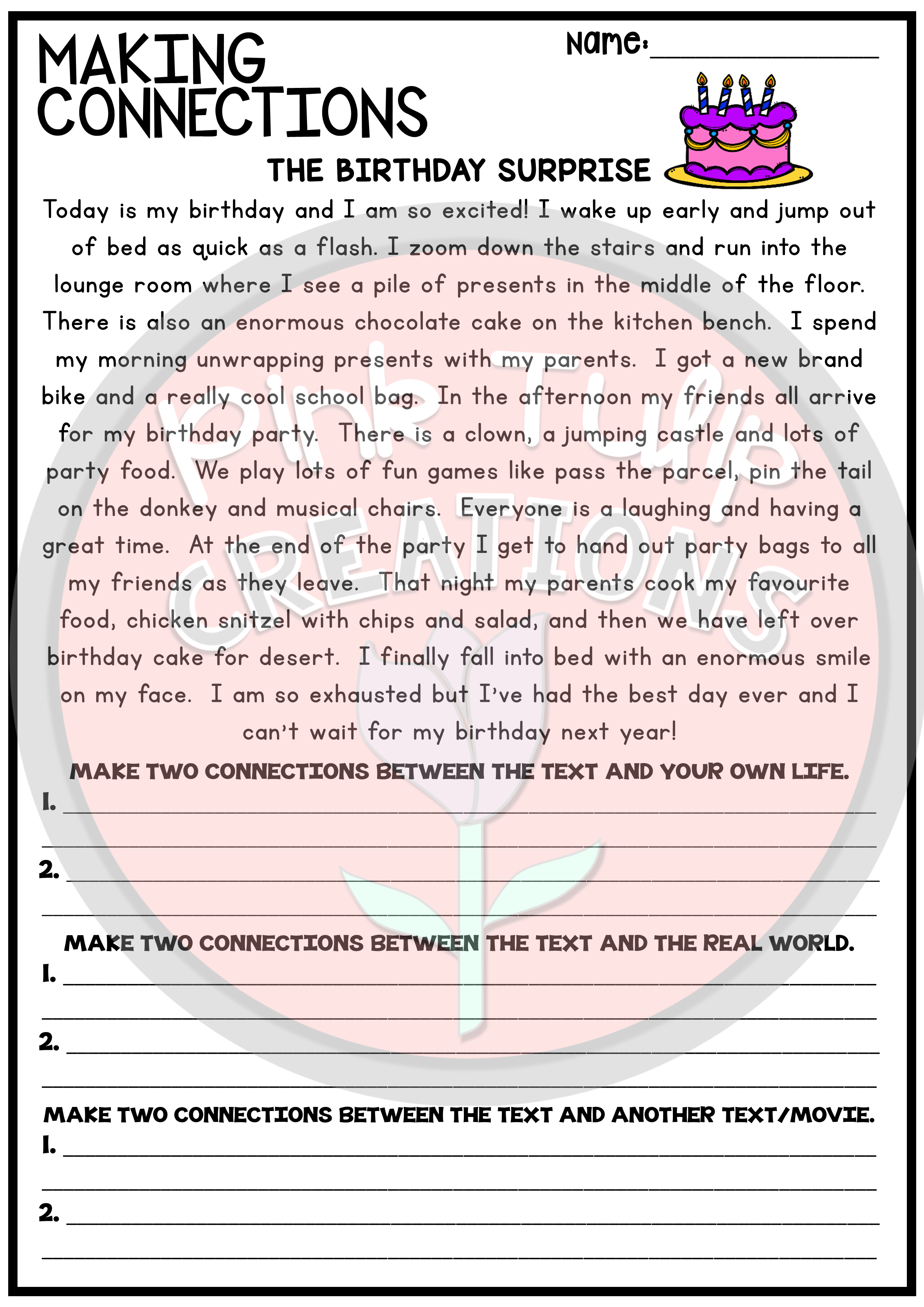 - Making Connections - Reading Worksheet Pack Text To Text