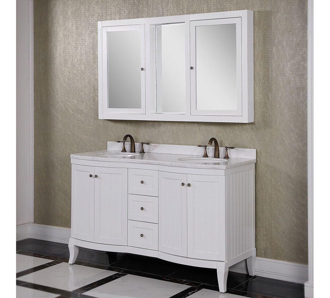 60 Inch White Double Sink Bathroom Vanity Cabinet Mirror Cabinets Double Sink Bathroom Vanity Bathroom Vanity