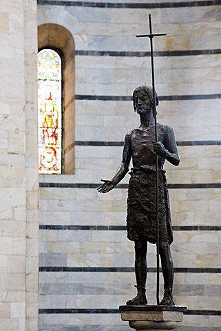 Estatua de San Juan Bautista, el Baptisterio, el Duomo, patrimonio de la humanidad, Pisa, Toscana, Italia, Europa