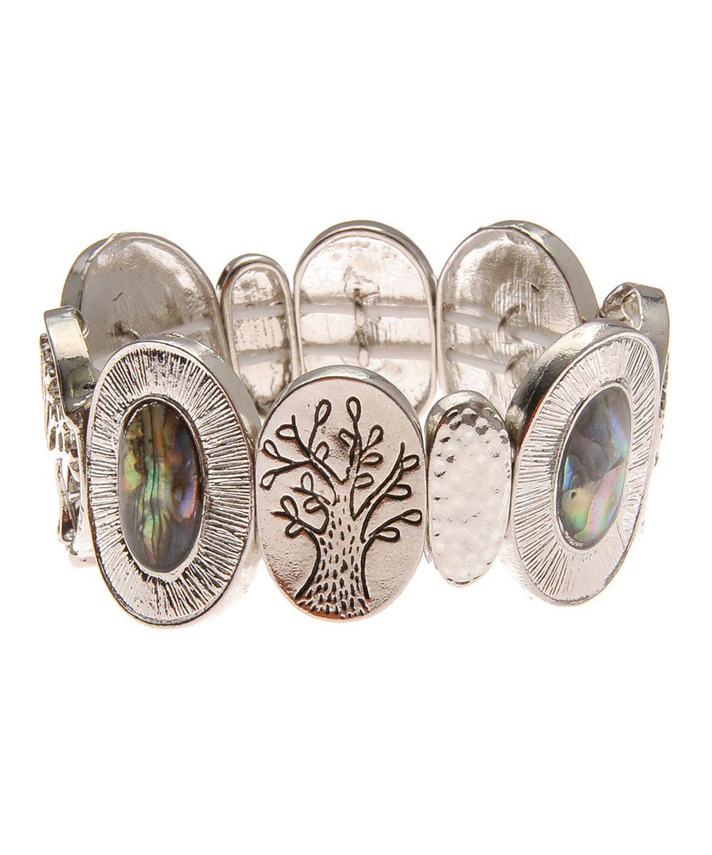 Abalone & Silvertone Tree of Life Link Stretch Bracelet