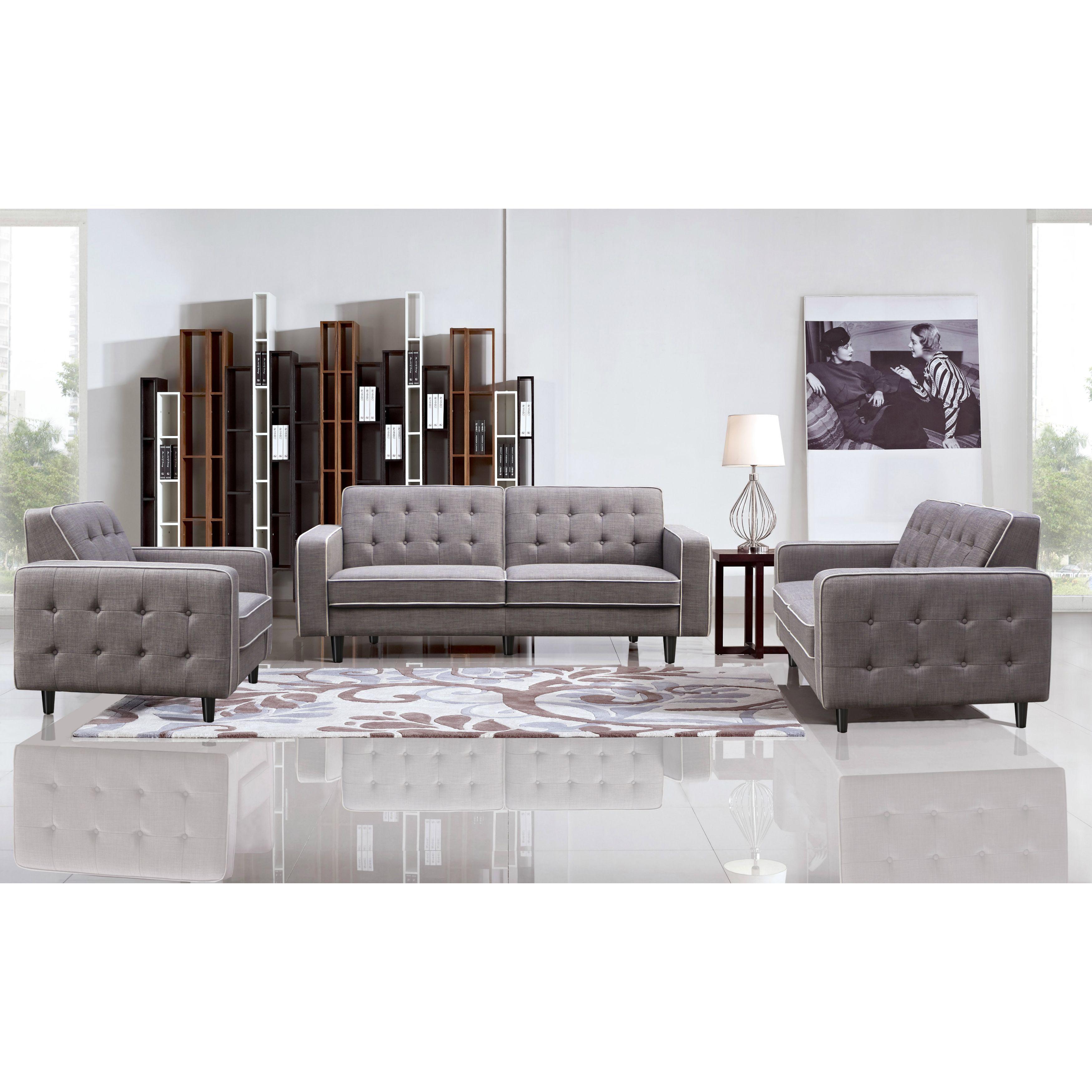 DG Casa Taupe Grey Benjamin Sofa, Loveseat And Chair Set By DG Casa