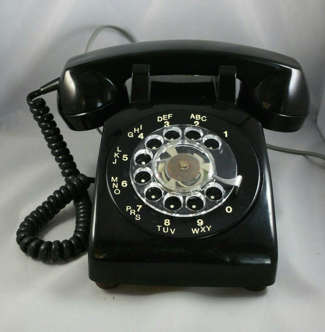 Vintage Rotary Phone Black Colored Desk Agt Dial