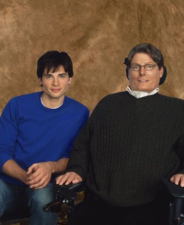 Tom Welling & Christopher Reeve; Smallville set