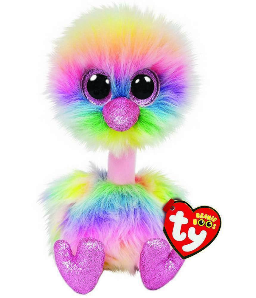Details About Ty Beanie Boos 6 Asha Rainbow Ostrich Plush Stuffed