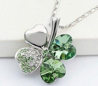 18 carat white gold plated four leaf clover crystal necklace c55 18 carat white gold plated four leaf clover crystal necklace c55 green bidorbuy mozeypictures Image collections