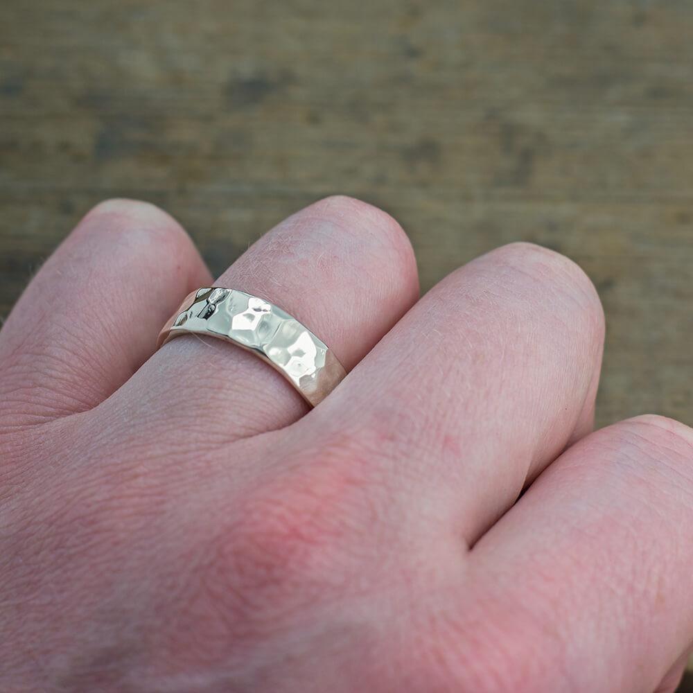 6mm 14k white gold mens wedding band hammered polished