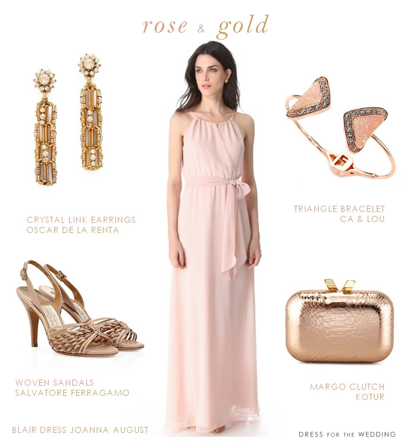 Blush Dress And Rose Gold Accessories