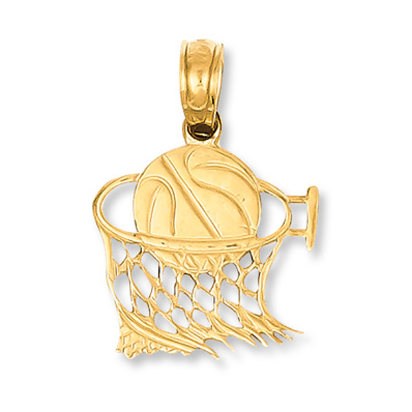 High Polish 14k Yellow Gold Basketball Player Sports Pendant Necklace